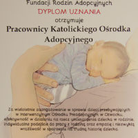 dyplom uznania od Fundacji Rodzin Adopcyjnych