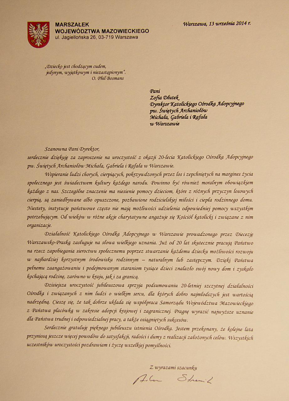 Życzenia od p.Adama Struzika, Marszałka Województwa Mazowieckiego