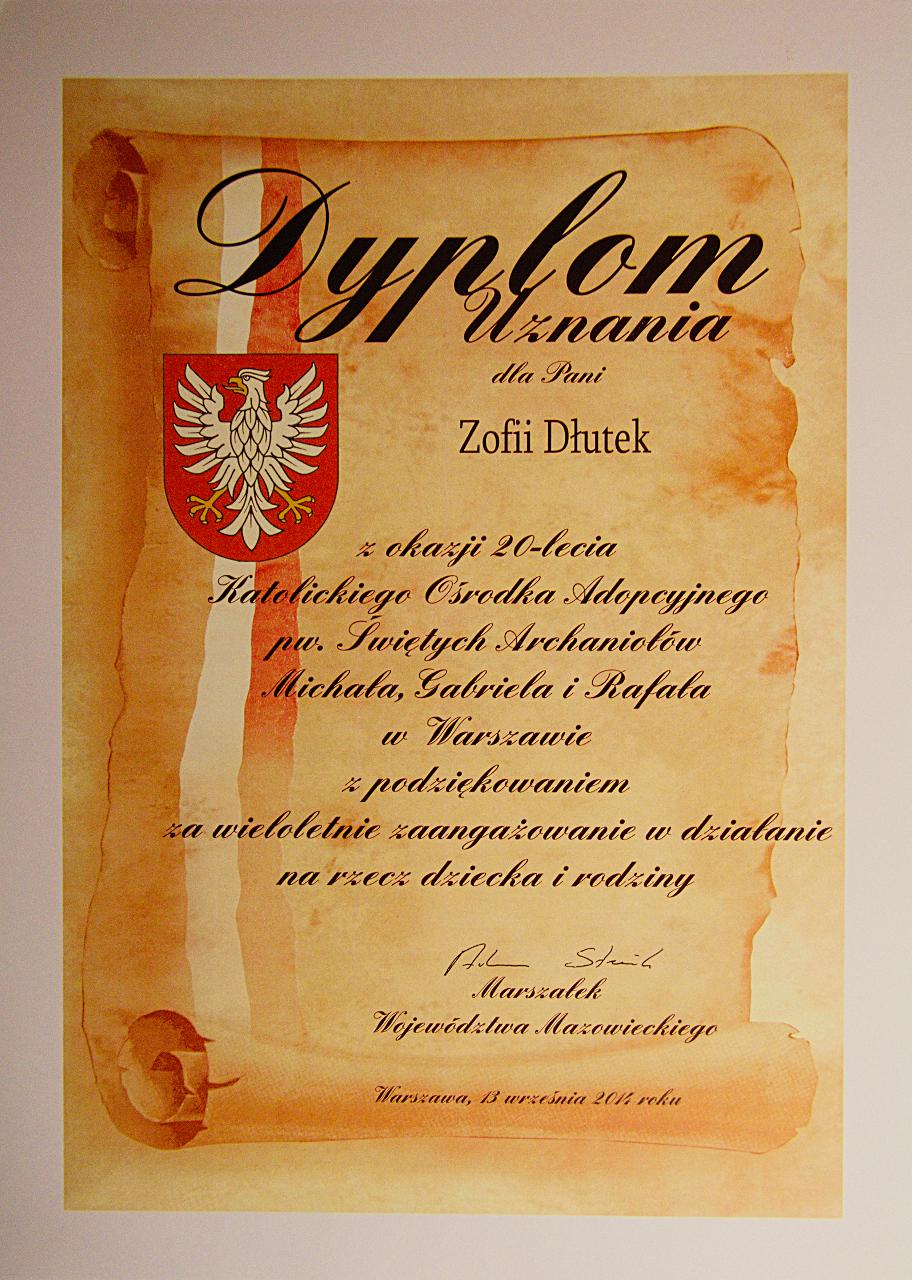 dyplom od p.Marszałka Województwa Adama Struzika
